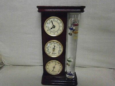 Lovely Rosewood Coloured Barometer / Clock - Vgc