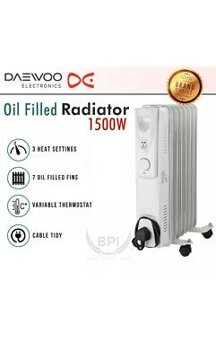0c1f2597d11 Daewoo White 1500w Watt Oil Filled Radiator Heater with Thermostat + FREE  Timer