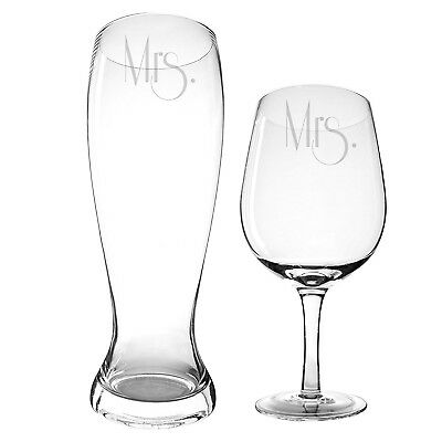 Cathy's Concepts Mrs. & Mrs. Gatsby Beer and Wine Glass Set. Delivery is Free