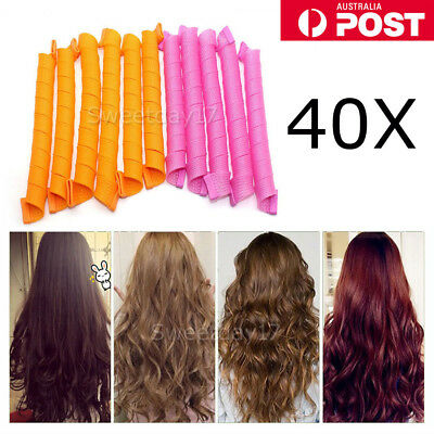 40PCS 50cm Magic Hair Curlers Curl Formers Spiral Ringlets Leverage Rollers AU Y