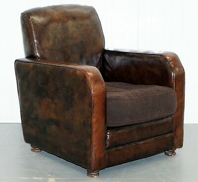 Aged Brown Leather Coil Sprung Base Armchair With Velvet Feather Filled Cushion