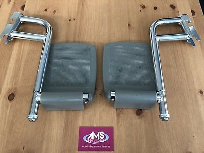 Pair of Days Shower / Commode Chair Chrome Footrests Left & Right - Parts