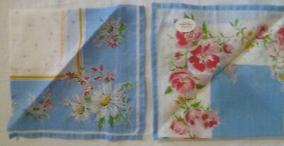 Pair Vintage Cotton Lawn Handkerchiefs UNUSED CHIC Tootal UK Floral Womens