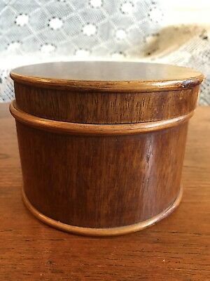 Vintage Hand Turned Wooden Timber Round Box With Lid Hand Made