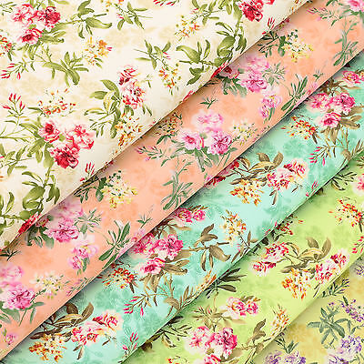Cotton Print Fabric FQ Retro Floral Dress Quilting Patchwork Sew Craft Time VK84