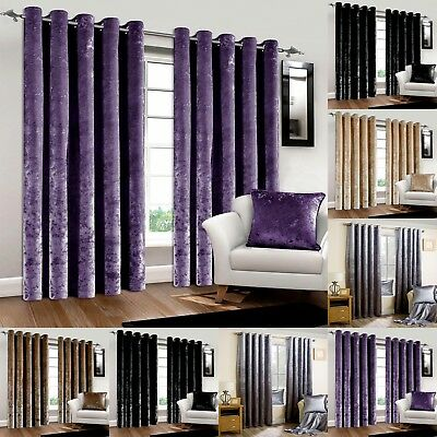 Luxury Shiny Pair Of Thermal Crushed Velvet Eyelet Lined Curtains