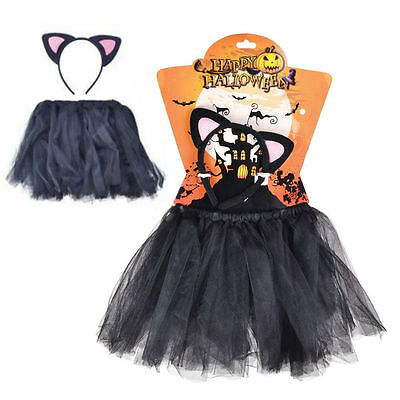 Child Girls Cat Witch Black Book Day Halloween Fancy Dress Costume Tutu Ears Set