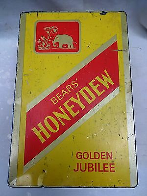 Antique Cigarettes Tin Box Vintage Bear's Honeydew Golden Jubilee Collectible