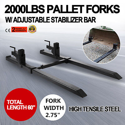 """43"""" Clamp on Pallet Forks w/ Stabilizer Bar 2000lb Heavy duty Protection Chain"""
