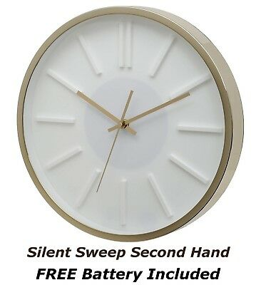 """Home Office Missouri White Dial Silent Sweeping Wall Clock with Gold Case 14"""""""