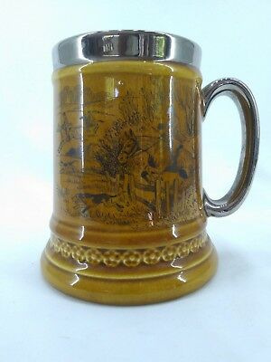 Vintage Lord Nelson Hand Crafted Pottery Tankard - White Hart Colyford Devon
