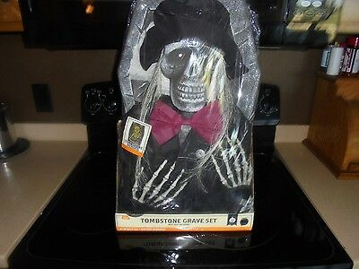 New Halloween Skeleton Tombstone Grave Set With Lights And Sounds 21 In!!!!!