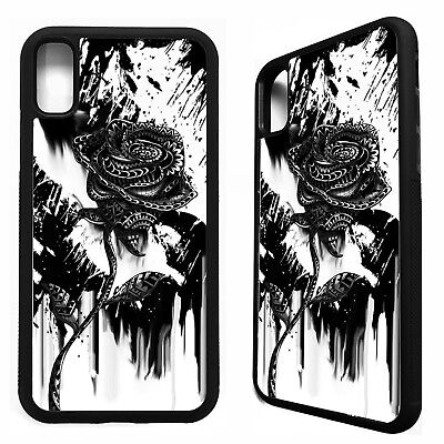 5bafc0a72 Black rose flower floral gothic pretty tattoo case cover for iphone X XS  Max XR
