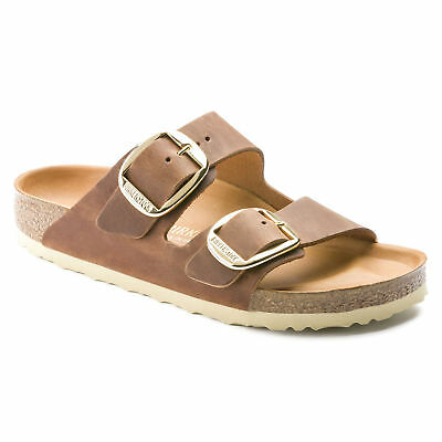 Birkenstock Oiled Leather ARIZONA Big Buckle Cognac Antique Brown