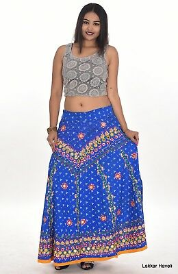 2905ad0f7b Indian 100% Cotton Women's Long Skirt Hippie Blue Color Plus Size  Embroidered