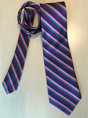 Countess Mara 100% Silk Tie Blue Green Purple Pink Diagonal Stripes EUC