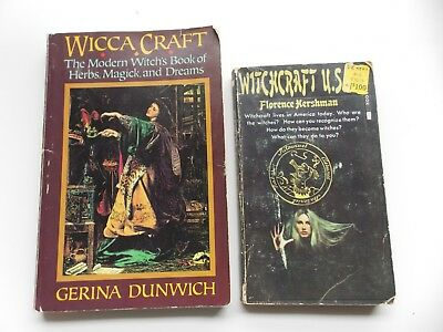 2 BOOKS ON Wicca Craft & Witchcraft by Florence Hershman + Gerina Dunwich