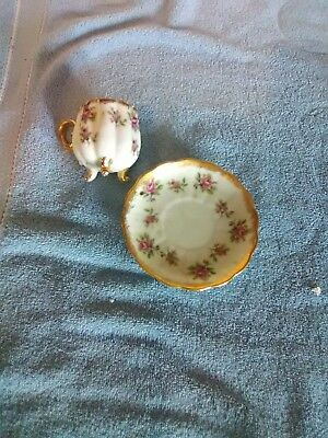 Napco Hand Painted China Cup and Saucer - Roses with Gold Trim