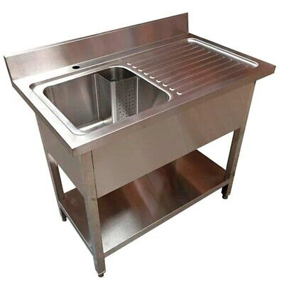1200mm x 600mm New Commercial Single Bowl Kitchen Sink 304 Stainless Steel RHD