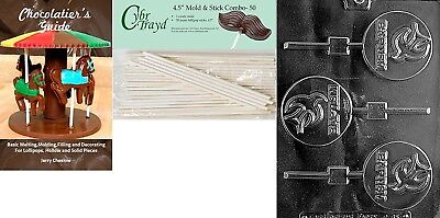 (+50 Sticks/Book) - Cybrtrayd Baptism Lolly Chocolate Candy Mould with 50 11cm