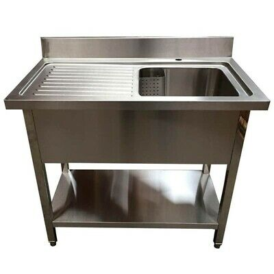 1000mm x 600mm New Commercial Single Bowl Kitchen Sink 304 Stainless Steel LHD