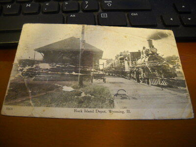 the Rock Island Depot, Wyoming, Illinois Dec 17, 1908 - Rock Island RR train