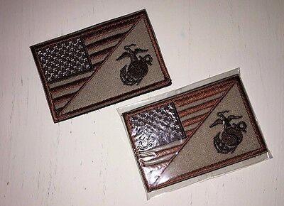 USMC Tactical Patch/ Marine Corps Patch Hook & Loop Tan (Lot of 2)