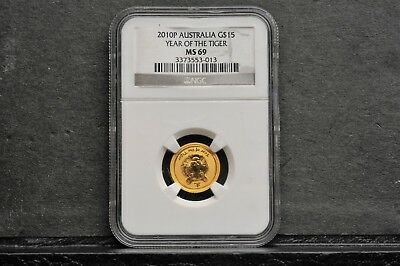 2010 P Australia 1/10 OZ Year of the Tiger $15 NGC MS 69