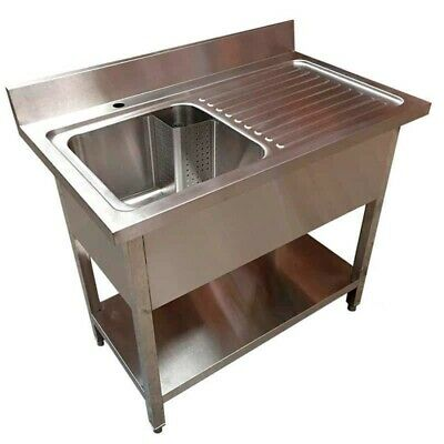 1000mm x 600mm New Commercial Single Bowl Kitchen Sink 304 Stainless Steel Bench