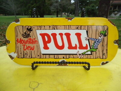 Old Vintage Mountain Dew Pull Door Porcelain Advertising Sign