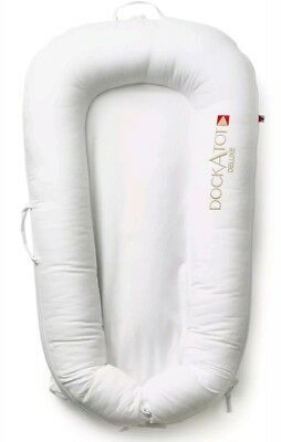 Dockatot Deluxe+ Baby Portable Play Sleep Feed Dock Bed Pristine White NEW