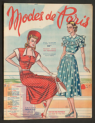 'mode De Paris' French Vintage Magazine Summer Issue 24 June 1949