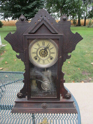 Ornate Etched Glass Gingerbread Chime Clock-Needs Work