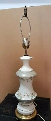 Antique Vintage Leviton Flowered Porcelain Table Light Lamp On A Pure Brass Base