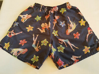VTG 80s MOSSIMO PINUP GIRL SWIM SUIT TRUNKS Mens SZ 32-34 WAIST Pre-Target SKATE