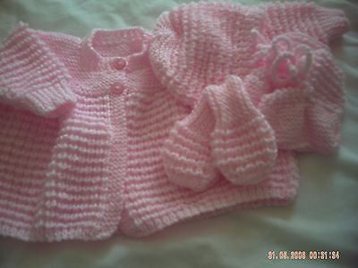 Hand Knitted Pink Baby Girls Cardiagn/Coat, Hat, Bootees And Mitts In 3-6 Months
