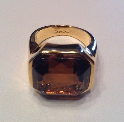 Vintage Signed MONET Topaz Swarovski Ring 22k Gold Plated Ring Size Large Or 9