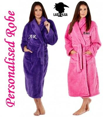 PERSONALISED Ladies Luxury Soft Fluffy Fleece Dressing Gown Robe Tie Belt - Gift