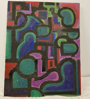 Antique Vintage MCM Mid Century Abstract Mixed Media Painting Sand