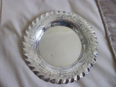 VINTAGE SILVER ROUND TRAY Fluted Edge with engraving all around the edge  7 inch