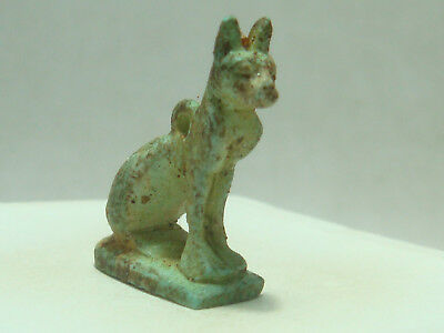 Ancient Egyptian goddess Bastet - Cat Amulet (Faience)