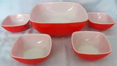 Vintage Hard-To-Find Pyrex Hostess Oven & Table 5 Piece Set Red