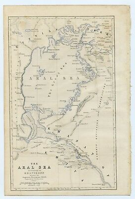 The Aral Sea according to Khanikoff, map by Augustus Petermann 1858 RARE
