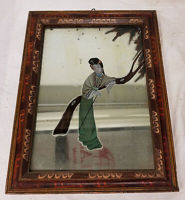 Antique Chinese Reverse Painted Mirror Lady Folk Painted Frame Picture