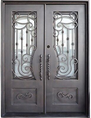 "Wrought Iron Entry Door 61.5""W X 81""H Right In Swing with Operable Privacy Glass"