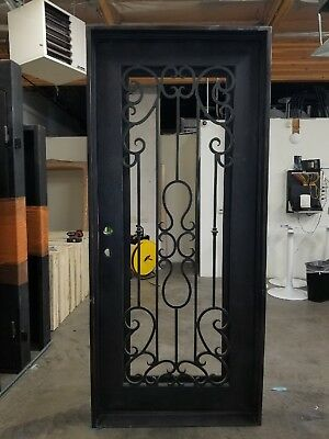 "Wrought Iron Entry Door 42""W X 94""H Right In Swing"