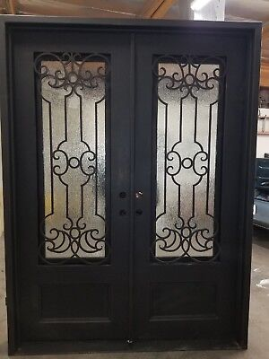 "Wrought Iron Entry Door 74""W x 96""H Right InSwing with Operable Rain Glass"