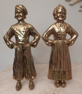 """VINTAGE UNIQUE FIREPLACE ANDIRONS 15 1/2"""" TALL x 15"""" DEEP BRASS & IRON"""