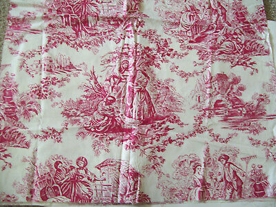 """Red Cream Toile COTTON Fabric 25"""" Wide x 2 yds historical country scenes"""