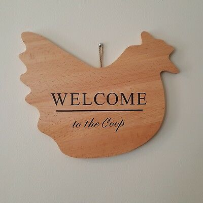 Welcome to the Coop Chicken Wood Sign Hen Handmade Country Kitchen Home Decor
